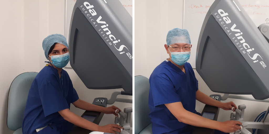 Gynaecology consultants Miss Ghadah Ahson and Mr C P Lim, both pictured at the controls of the da Vinci Si Surgical System.