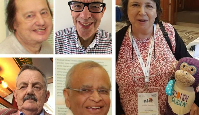 A collage of photos showing patients Anthony Heath, David Green, Marcia, Tarsem Paul and Iain Lowe, who have all benefited from kidney donations.
