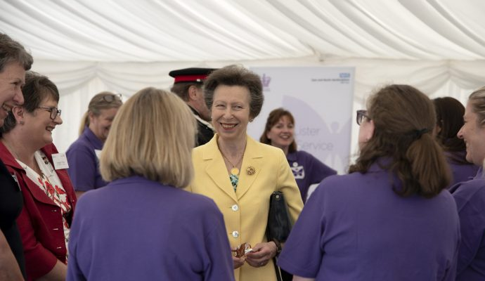 HRH The Princess Royal greets the Butterfly Volunteers during a visit to Lister Hospital